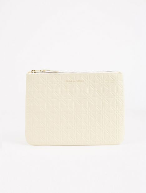 Embossed Leather Zip Pouch - Off White