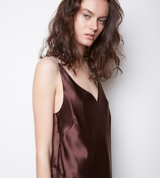 Model wears Christopher Esber Chap Cami in Chocolate