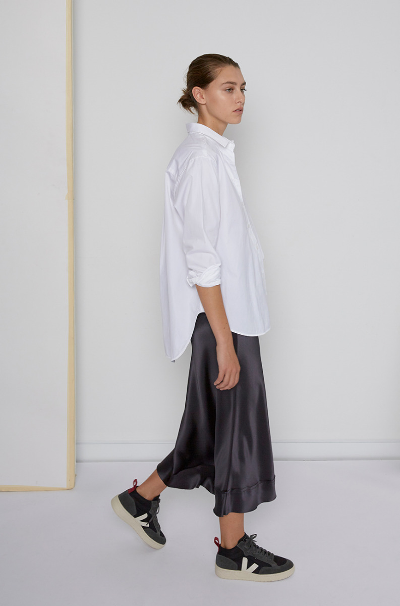 Lee Mathews Satin Skirt Toteme White Shirt